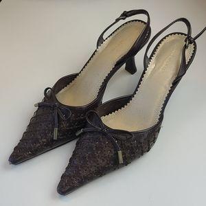 Vintage 🤎 Liz Claiborne Woven Leather Stilettos